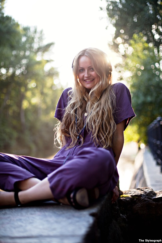 purple jumpsuit for women street fashion