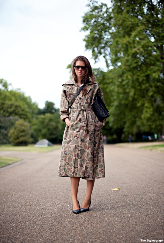 Burberry Camo Trench Coat London Street Style Women
