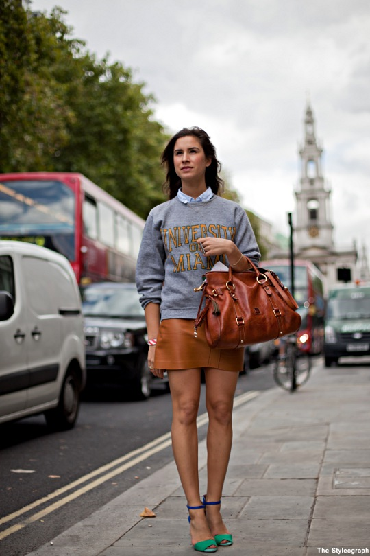 college sweater street style women's fashion london