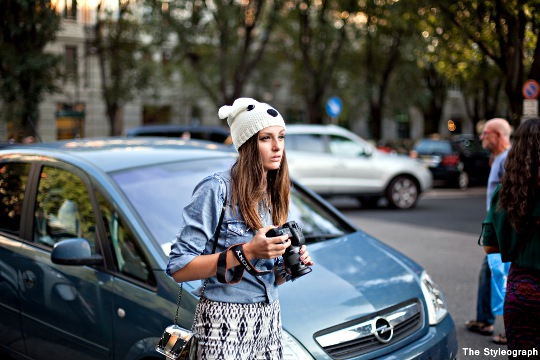 animal hat women street style milan