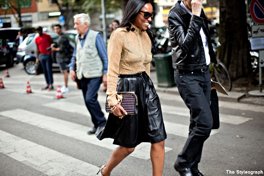 women's leather skirt fashion week milan