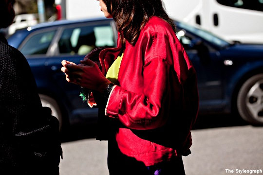 red college jacket for women milan fashion week