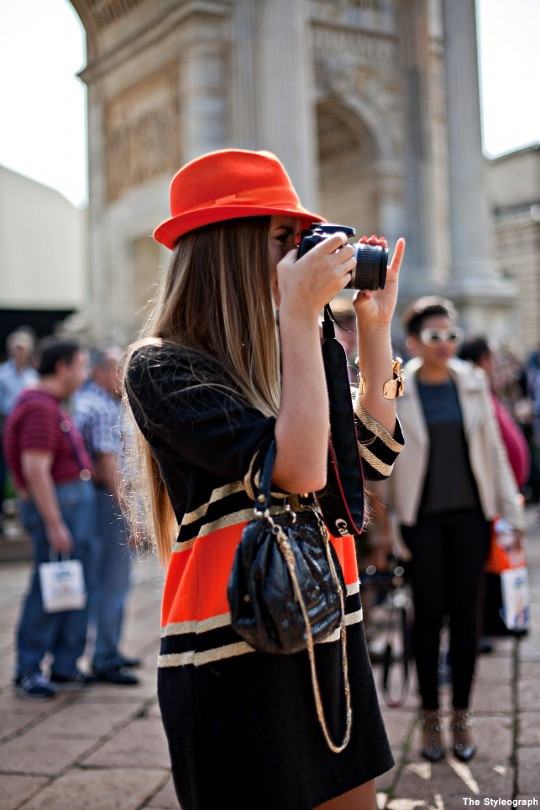 orange hat milan street style women