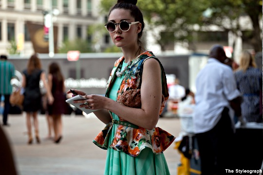 floral vest women's streetstyle New York Fashion Week