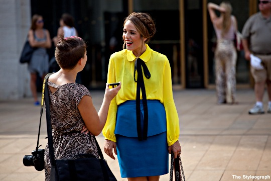 yellow shirt blue skirt women NYC summer fashion