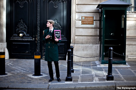 men's green winter coat paris street style