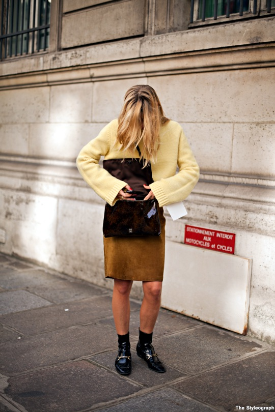 yellow sweater for women paris street style Ada Kokosar