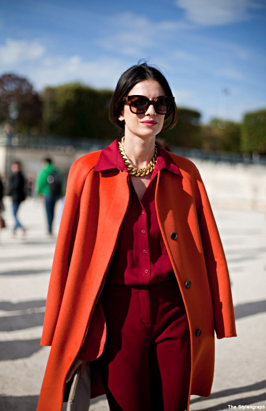 Street Style Women Orange Blazer Paris