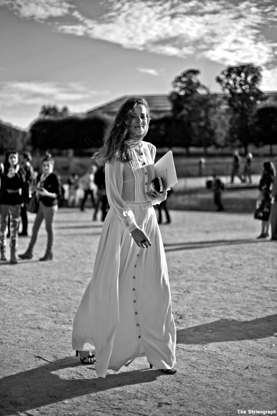 white dress after chloé street style paris