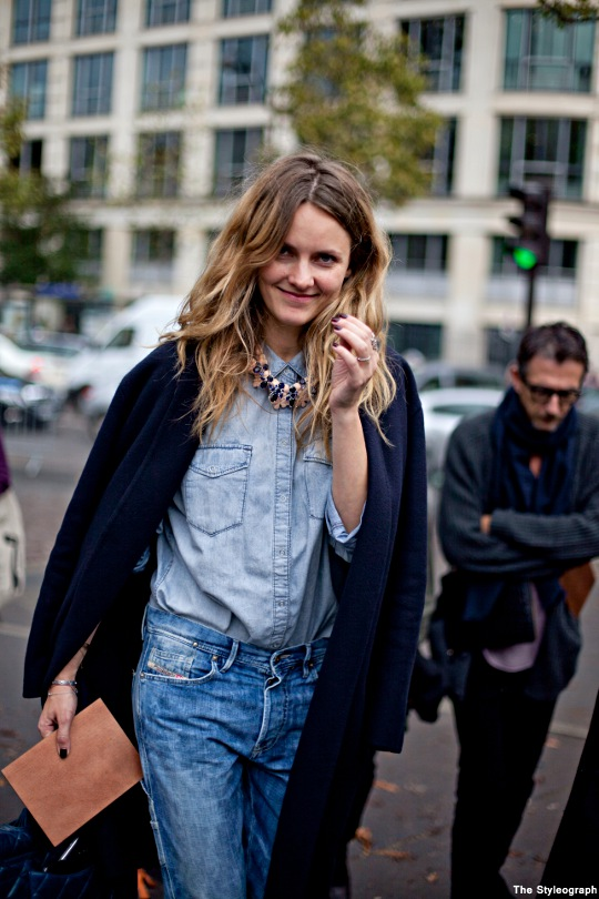 denim on denim fall street style women