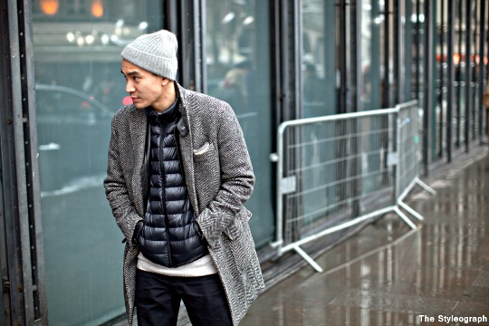puffer vest under coat for men street fashion photo