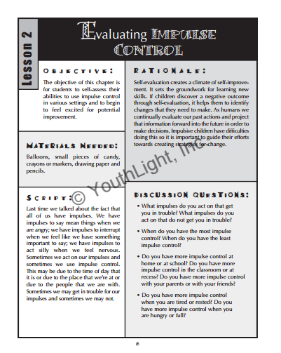 Impulse Control Activities Worksheets For Elementary School