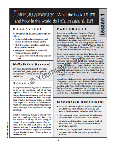 Impulse Control Activities Worksheets For Middle School Students