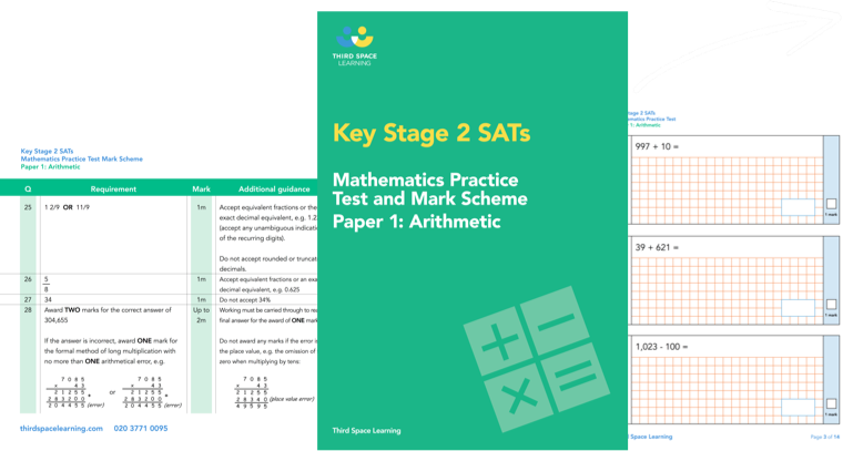 KS2 Maths SATs Arithmetic Practice Paper 1 (Pack 1) Cover Image