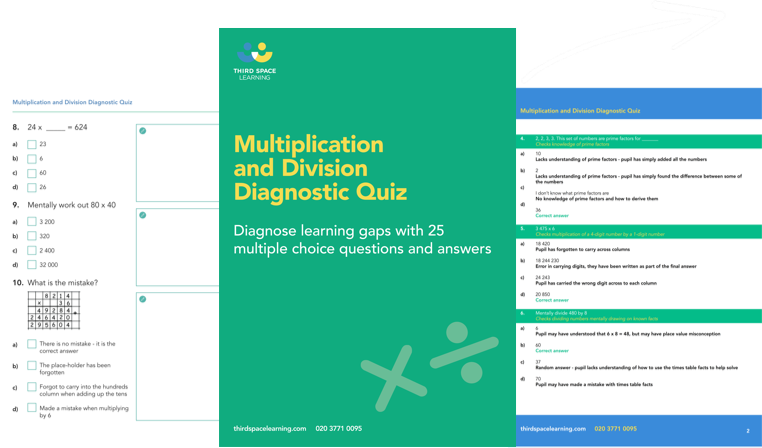 Multiplication and Division Diagnostic Quiz Cover Image