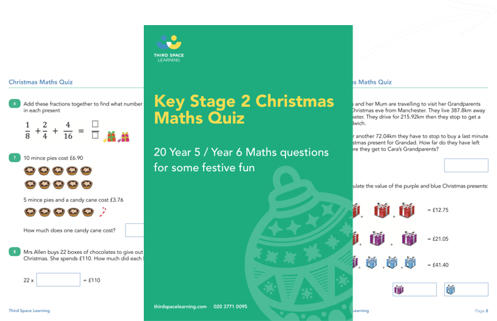 Key Stage 2 Christmas Maths Quiz Cover Image