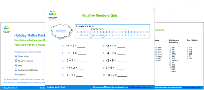Holiday Maths Pack Cover Image
