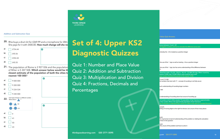 Set of 4 Diagnostic Year Six Maths Quizzes Cover Image