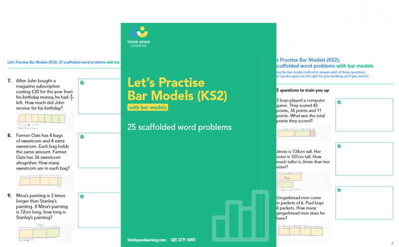 Let's Practise Bar Model Word Problems: KS2 Worksheet Cover Image