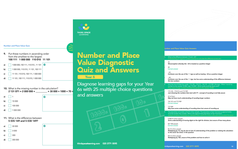 Year 6 Number and Place Value Diagnostic Quiz Cover Image