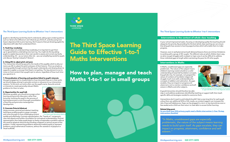 The Third Space Learning Guide to Effective 1-to-1 Interventions Cover Image