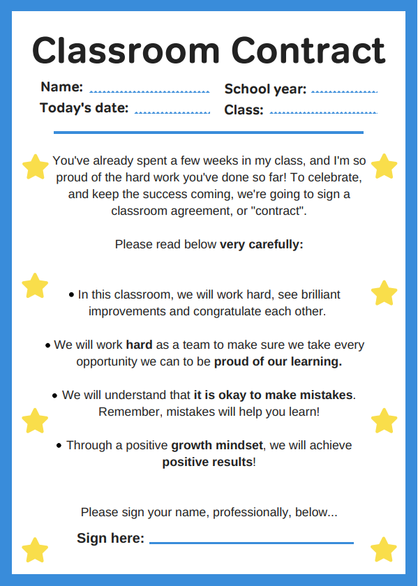 How to develop a growth mindset - classroom contract