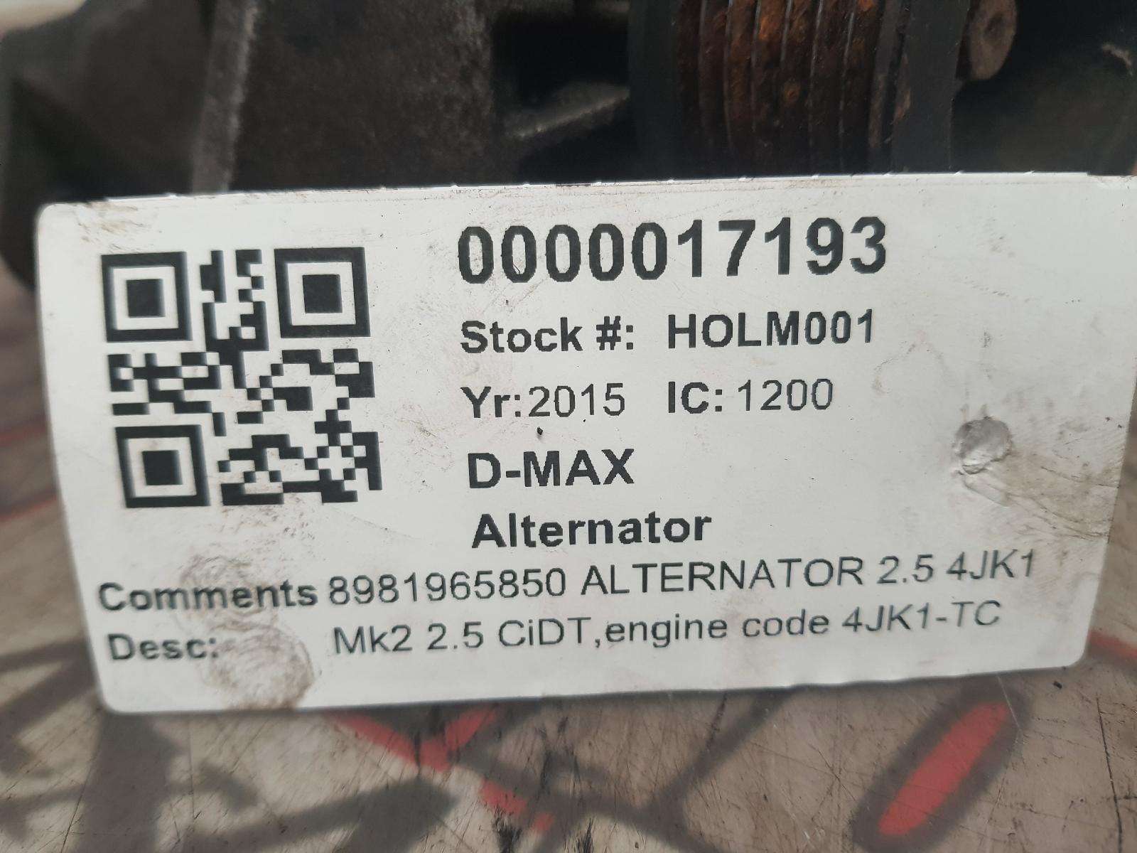 View Auto part Alternator ISUZU D-MAX 2015