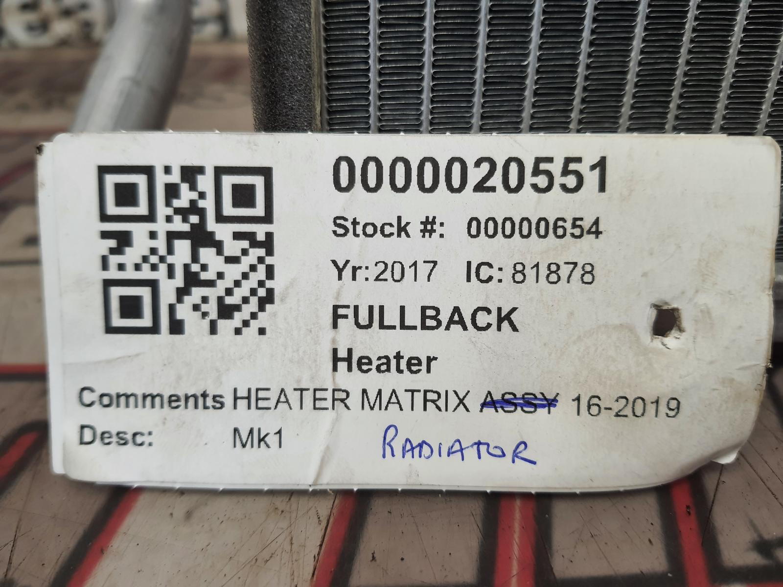 View Auto part Heater Core FIAT FULLBACK 2017