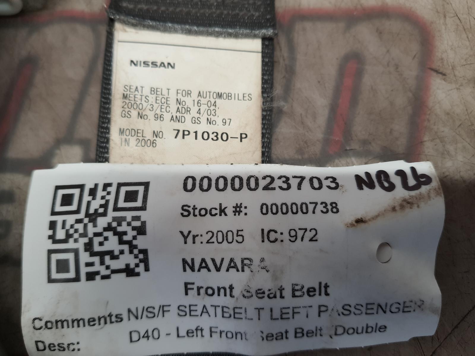 View Auto part Seat Belt NISSAN NAVARA 2005