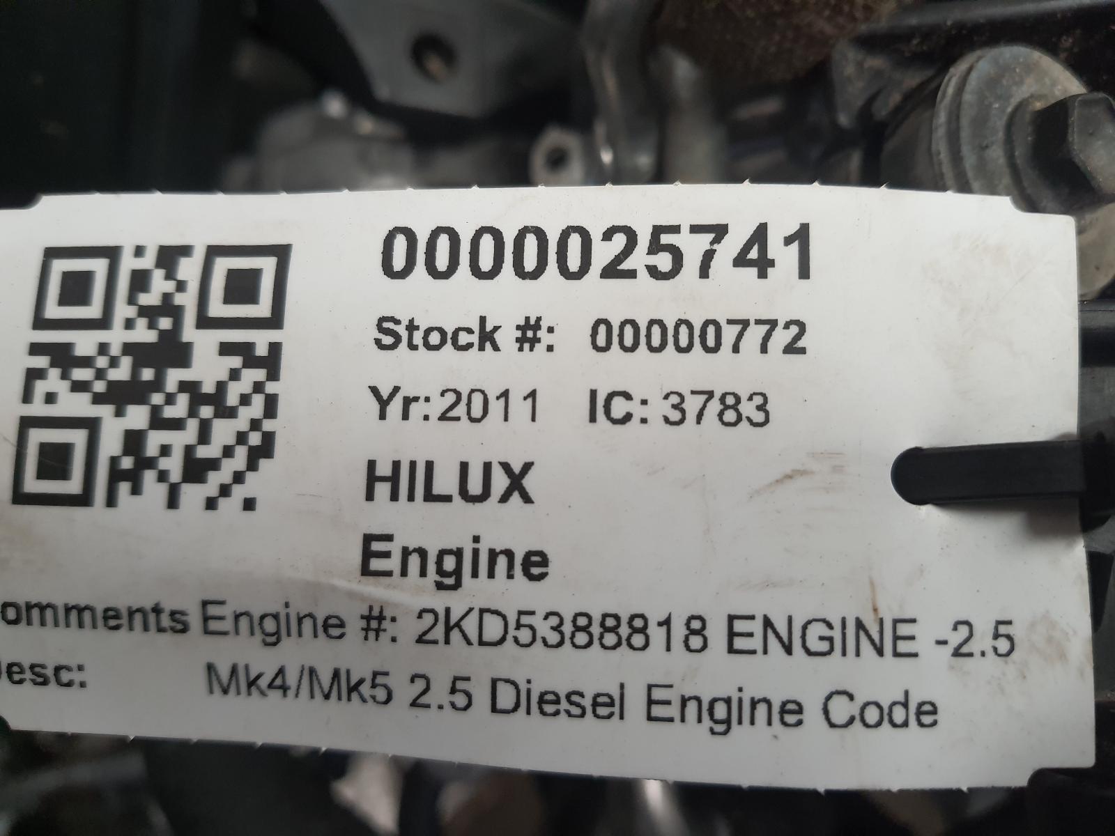 View Auto part Engine TOYOTA HILUX 2011
