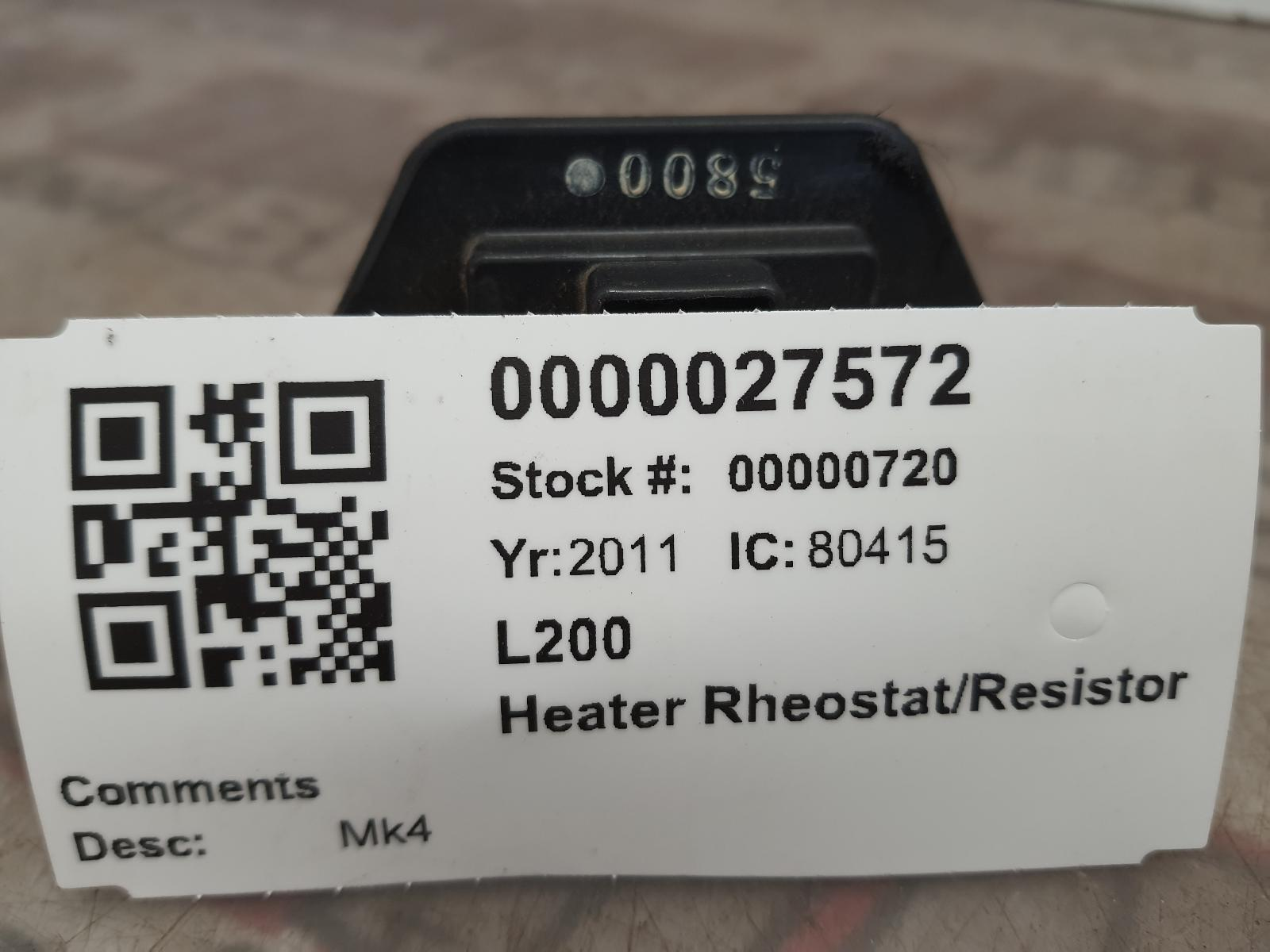 View Auto part Heater Rheostat MITSUBISHI L200 2011