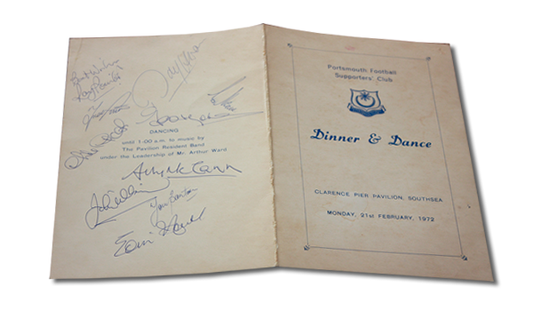 Vintage: 1972 Dinner and Dance Menu signed by members of the 1st team