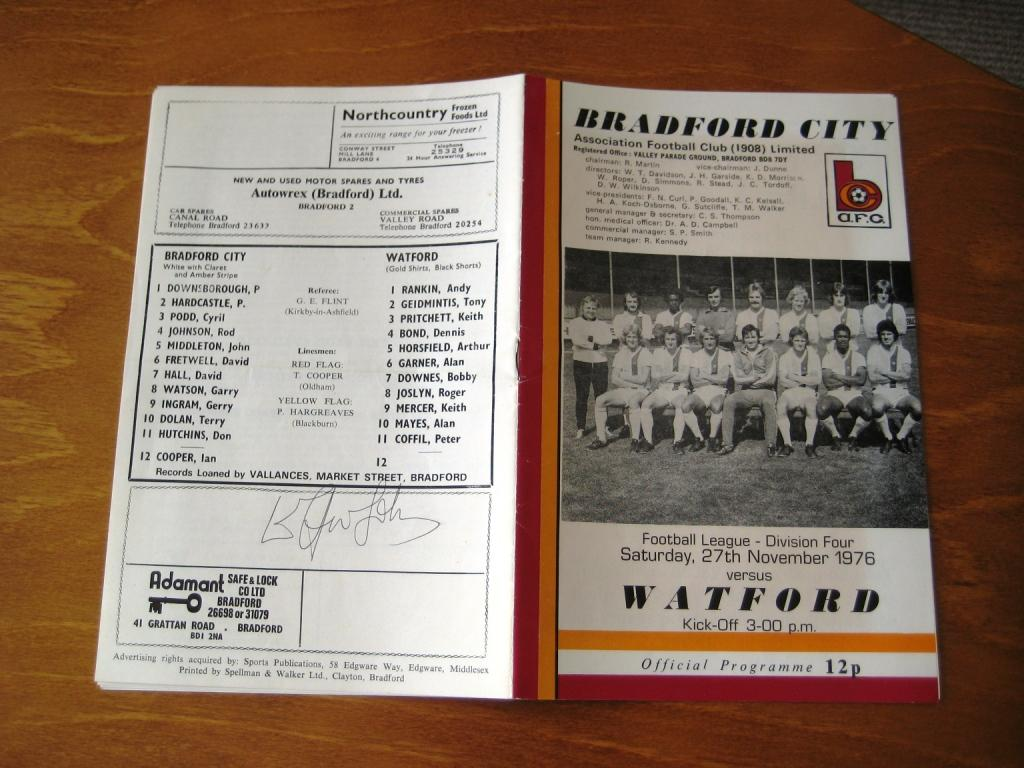 1976 Matchday Programme Bradford City - Watford FC, signed by Sir Elton John