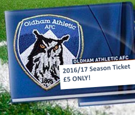 Chance to win - Oldham Athletic 2016/17 Season Ticket