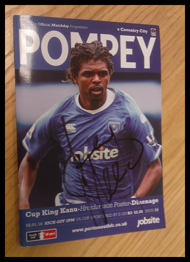 2010 Pompey v Coventry FA Cup Programme Signed by Kanu