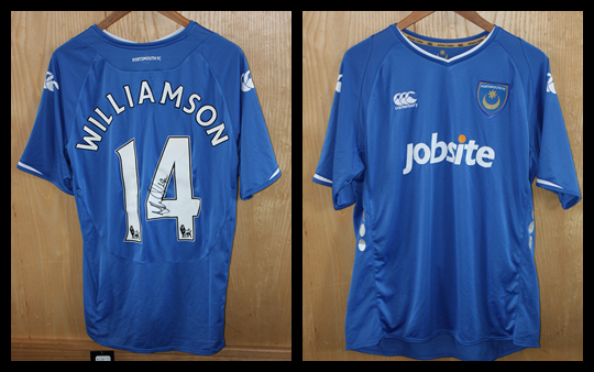 2009/10 Pompey Home Jersey signed by Mike Williamson