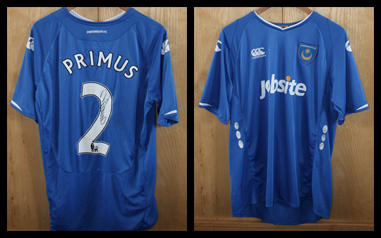 2009/10 Pompey Home Jersey signed by Linvoy Primus