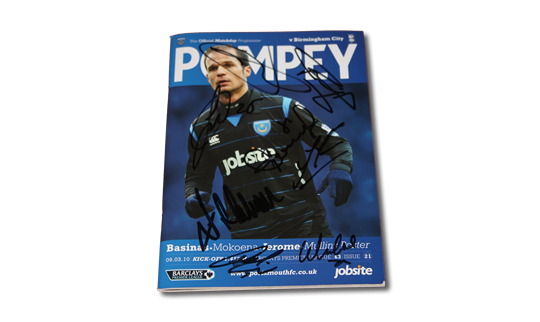 2010 Pompey v Birmingham Premier League Programme Signed by members of the first team