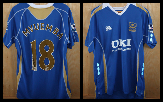 2007/08 Replica Pompey Home Jersey signed by Arnold Mvuemba