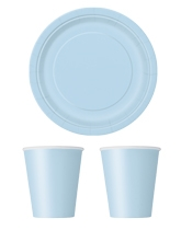 Party tableware themed in Baby Blue