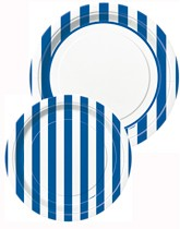 Tableware and decorations printed with blue stripes.