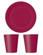 Party tableware themed in Burgundy