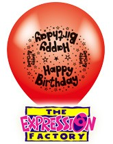 Printed latex balloons manufactured by The Expression Factory