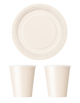 Party tableware themed in Ivory