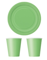 Party tableware themed in Lime Green