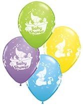 Qualatex latex balloons printed with new baby/baby shower designs.