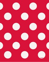 Party Supplies and tableware with a red Decorative Dots theme