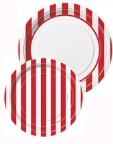 Tableware and decorations printed with red stripes