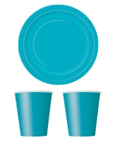 Party tableware themed in Caribbean Teal