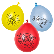 "Disco Fever 9"" Neck Up Latex Balloons 6pk"